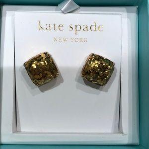 Late Spade Gold Sparkle Studs